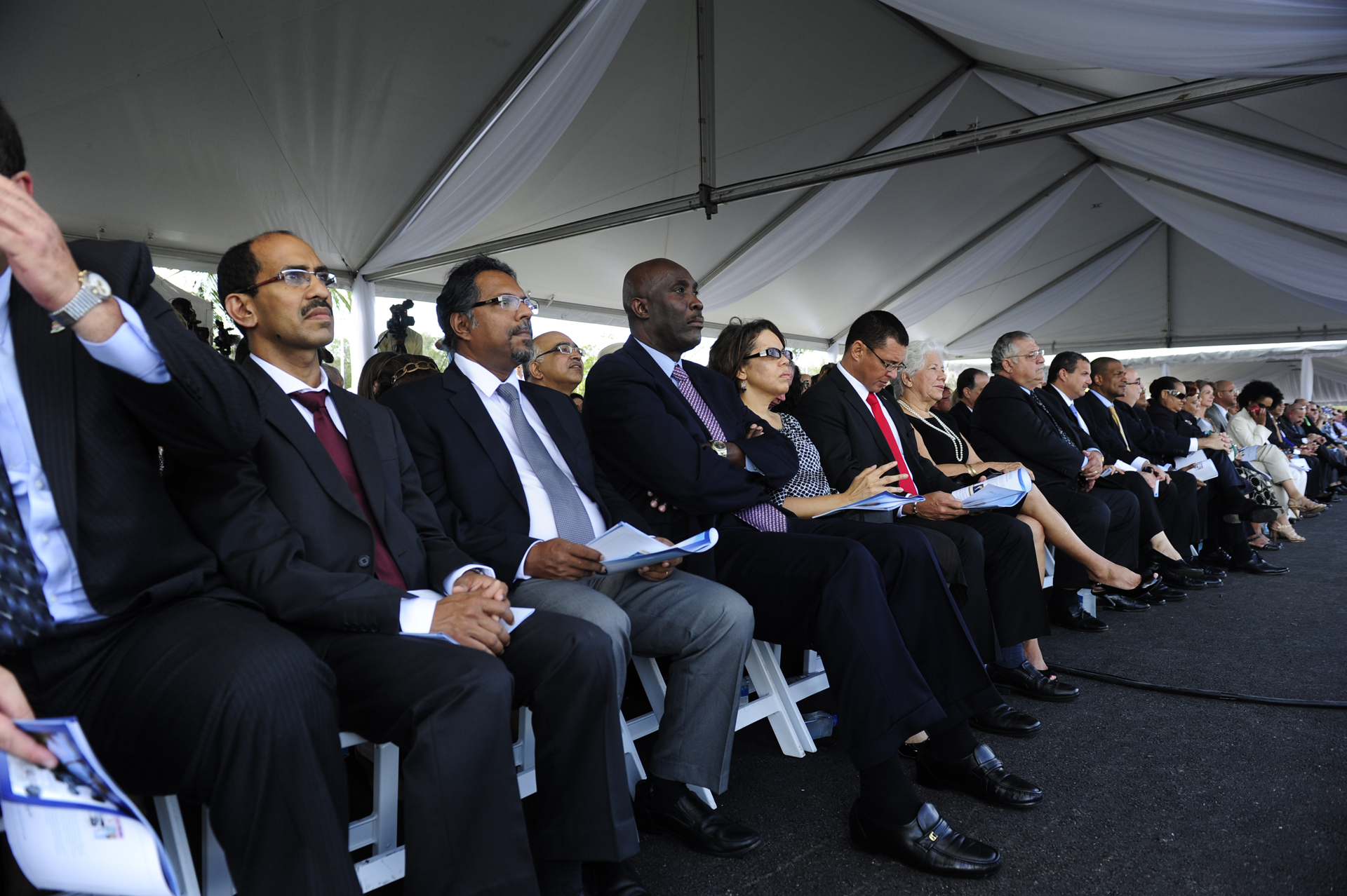 Dr Chandy Abraham Attorney General Sam Bulgin and supporters at Health City Cayman Islands Grand Opening